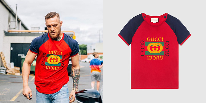 구찌의 로고 티셔츠에 물 빠진 청바지를 입은 맥그리거.
