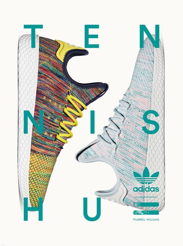 아디다스 오리지널스 = 퍼렐 윌리엄스 테니스 휴 파트 II. 가벼운 프라임 니트 어퍼를 화려한 색감으로 구현했다.
