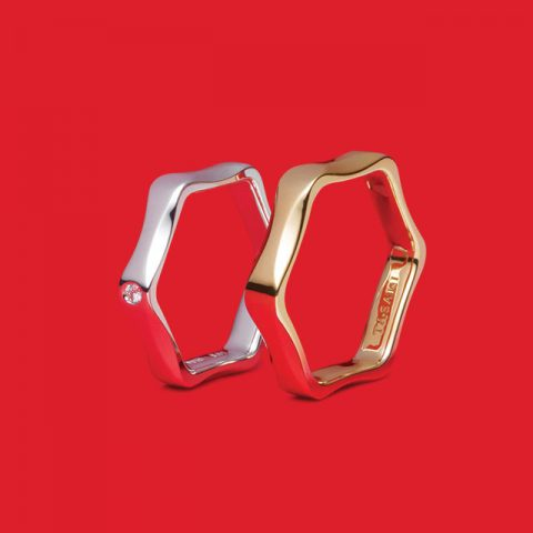 라벨로 링 플래티넘 다이아몬드 220만원대, 라벨로 링 사쿠라골드™ 120만원대 타사키.