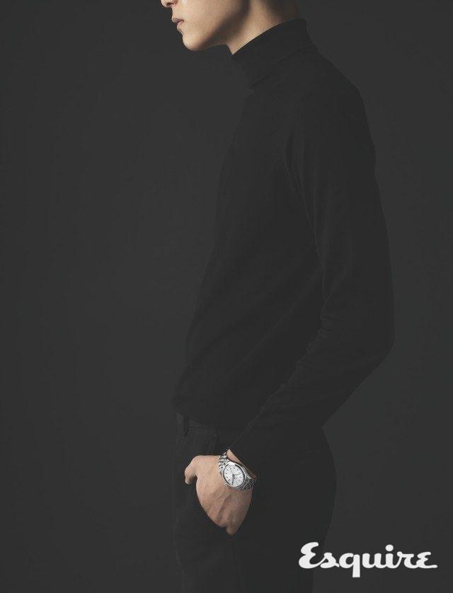 케이스 지름 36mm, 시·분·초·날짜 표시, 스테인리스스틸 케이스, 스테인리스스틸 브레이슬릿, 655만원. 니트 톱 랄프 로렌, 바지 벨루티