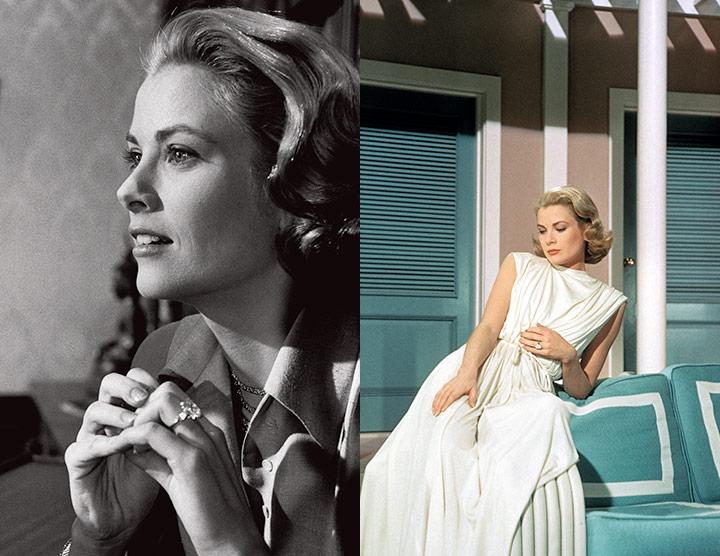 약혼반지를 착용한 그레이스 켈리가 등장한 영화 '상류 사회'의 장면들, 그리고 10.48캐럿의 에메랄드 컷 다이아몬드 반지 (좌) © Dennis Stock/Magnum Photos (중) © MGM, coll Sunset Boulevard