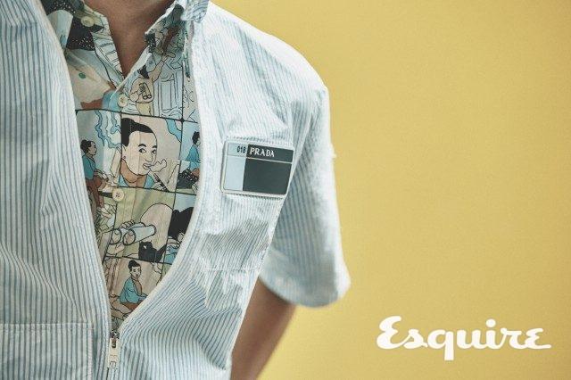 스트라이프 재킷, 프린트 셔츠 모두 가격 미정 프라다.