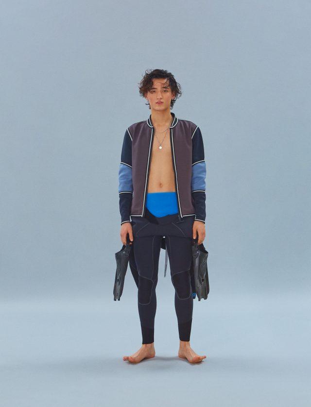 재킷 가격 미정 루이비통. 웨트슈트 59만9000원 파타고니아. 목걸이 모델 소장품. 오리발 에디터 소장품.
