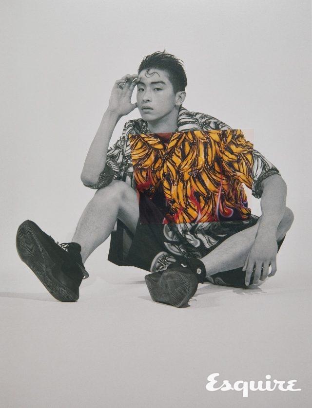 패딩 셔츠, 니트 톱, 반바지 모두 가격 미정 프라다. 운동화 12만9000원 나이키.