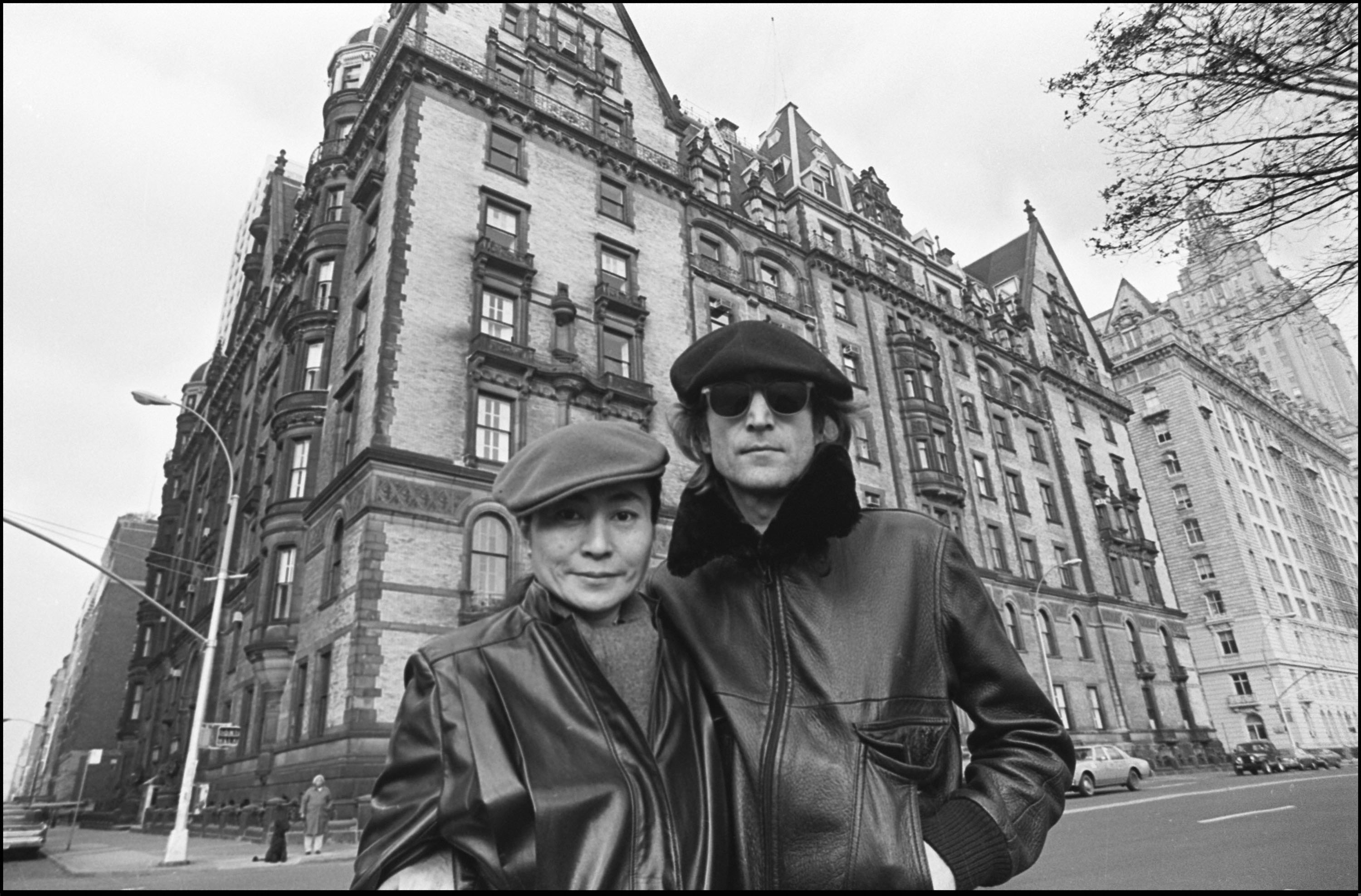 John Lennon and Yoko Ono come out of 5 years' seclusion to promote their new album, Double Fantasy, November 21, 1980. They walked around Central Park, posed infront of the Dakota apartment house, and worked in Studio One, Yoko's office. ©Allan Tannenbaum