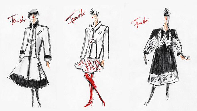 FENDI FW 19 Women Collection sketch