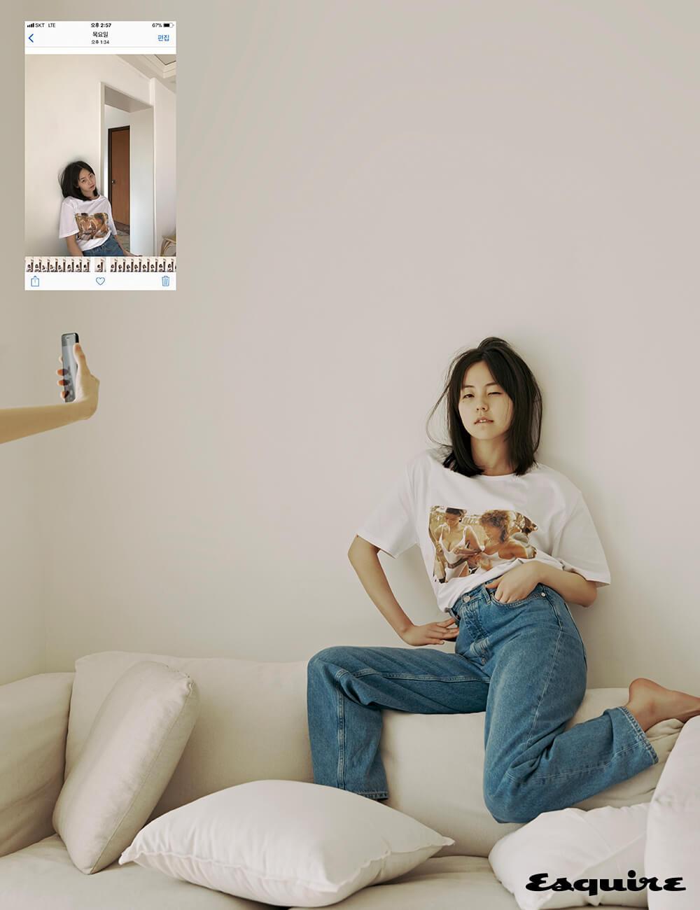티셔츠 아이디어. 청바지 코스.