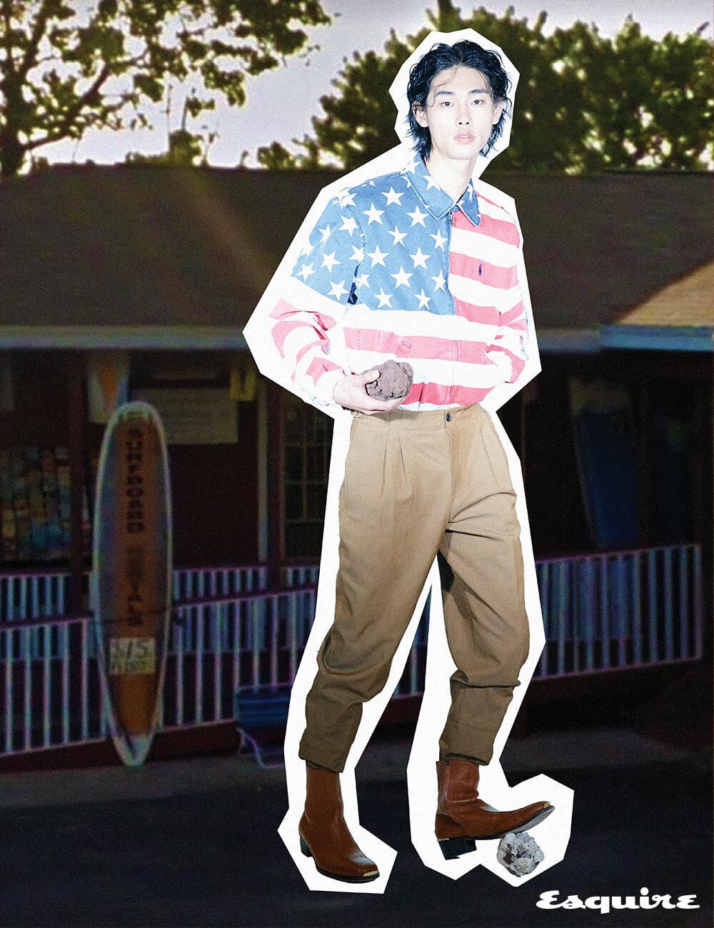 성조기 무늬 집업 재킷 가격 미정 폴로 랄프 로렌. 캐멀색 바지 가격 미정 에르메스. 캐멀색 부츠 가격 미정 우영미.