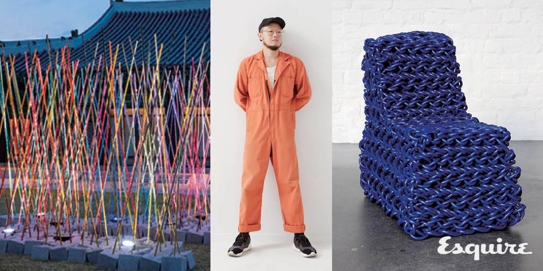 PVC와 폴리에스테르로 뜨개질하는 남자.