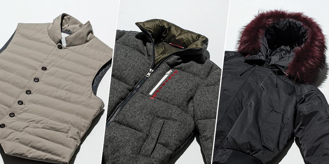 도시에서 입는 폭신한 재킷과 조끼.