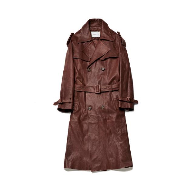 갈색 가죽 소재 트렌치코트 128만원 인스턴트펑크.