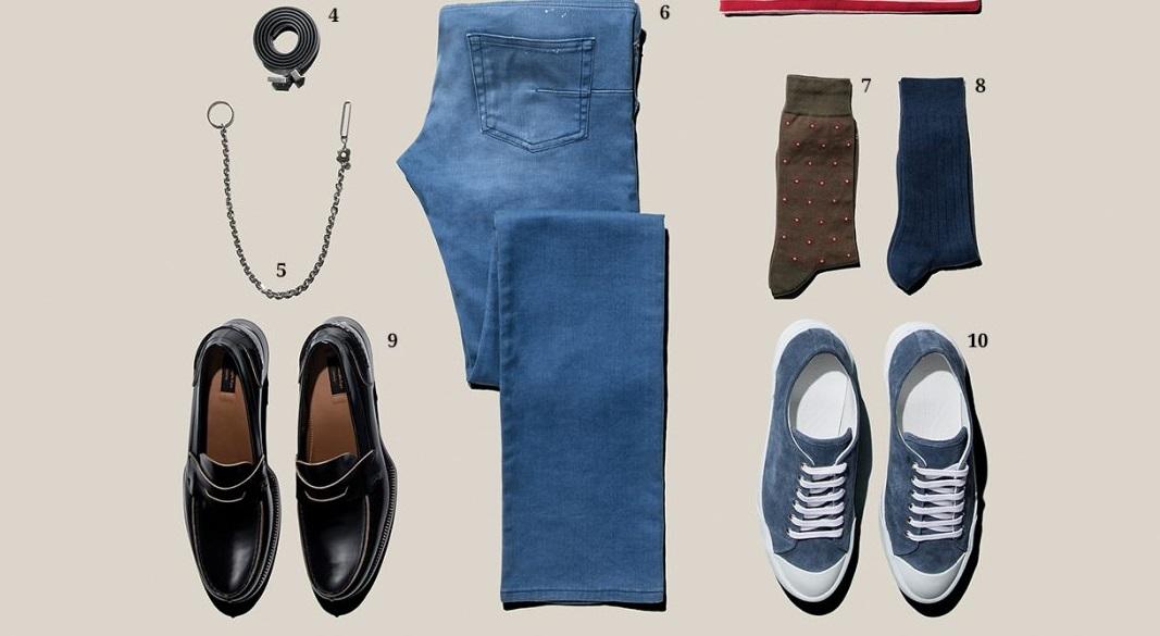 파란 청바지에 어울리는 산뜻한 스타일을 제안한다.