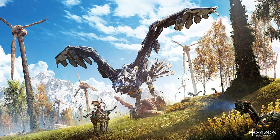 '호라이즌 던'은 수천 년 후의 미래를 배경으로 기계 생물과 맞선 인류를 그리는 게임이다.