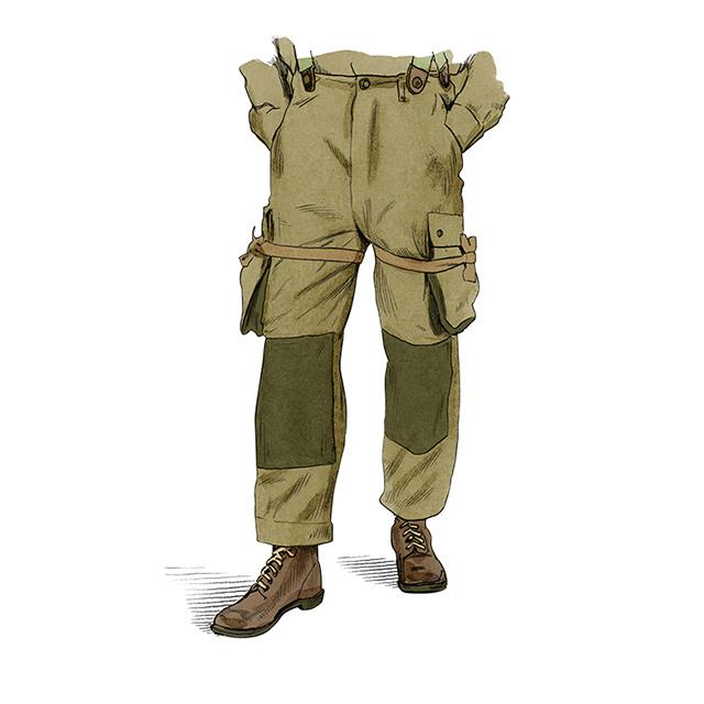 <strong>M42 공수 낙하 바지</strong><br />미국 공수부대의 투피스 낙하복 가운데 절반을 차지하는 옷이다.