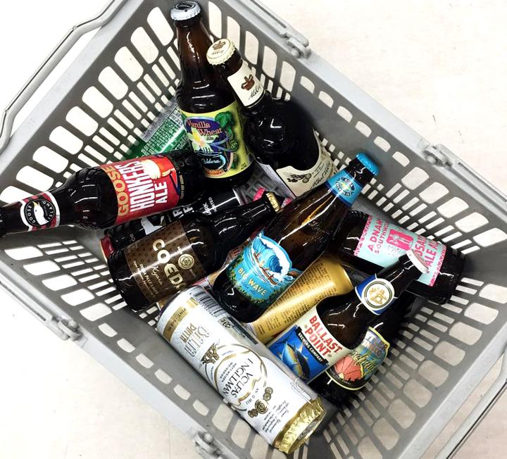 세계 27개국 맥주를 취향껏 골라 담아라. 6캔에 9500원이다.