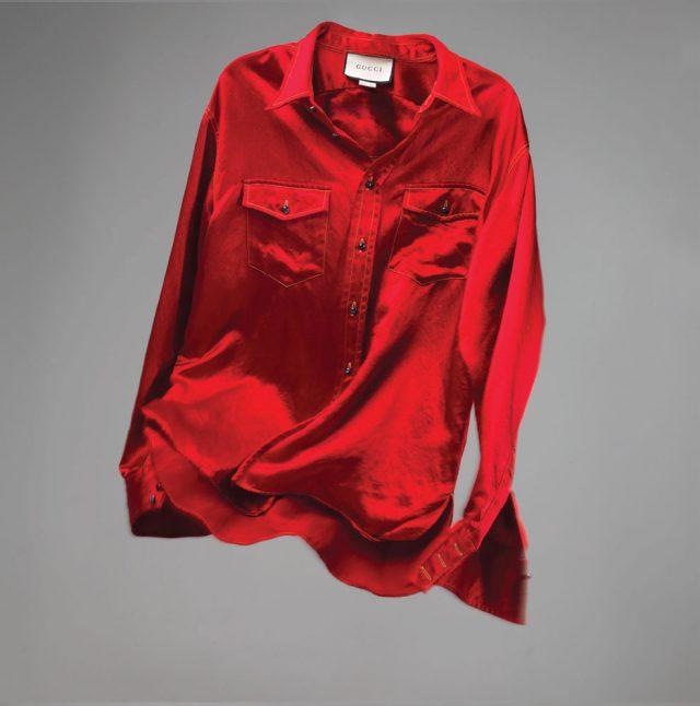 빨간색 아세테이트 소재 셔츠 92만원 구찌.