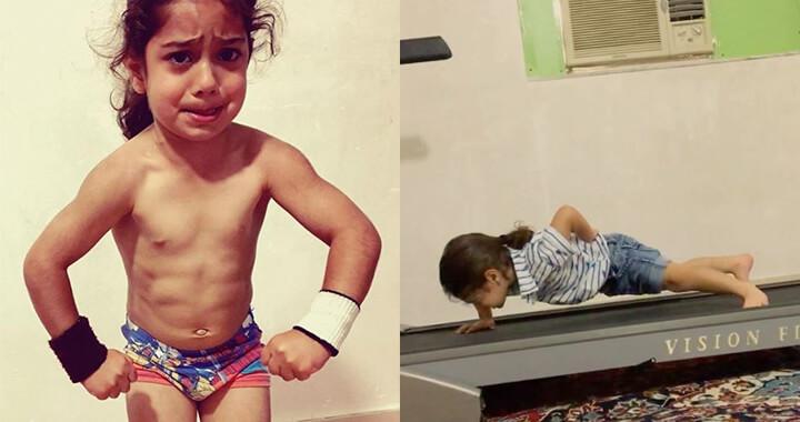 안정적인 운동 자세를 보라. 단지 세 살 어린이가 아니다.