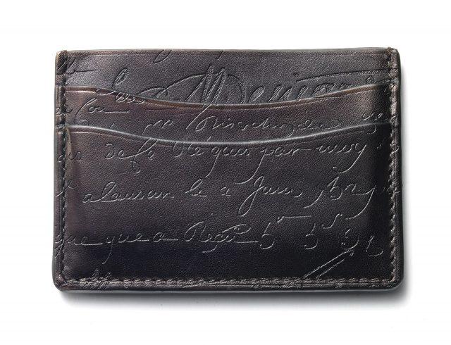 세상에 하나뿐인 벨루티 블랙 파티나 카드 지갑.