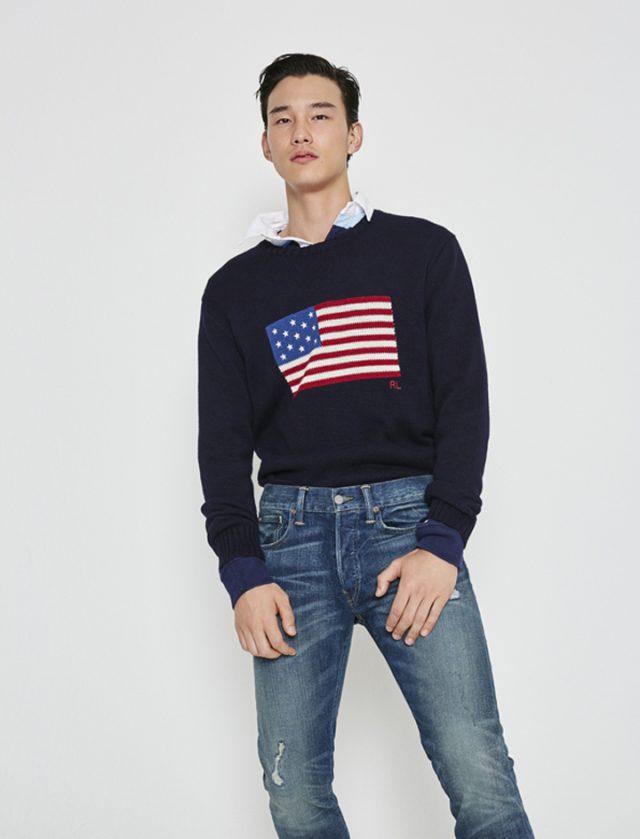 스웨터30만원대,럭비 티셔츠16만원대,바릭 슬림 스트레이트 데님 진 19만원대 모두 폴로 랄프 로렌.