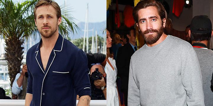청재킷과 티셔츠, 스웨트셔츠. 라이언 고슬링과 제이크 질렌할은 베이식 아이템을 단순하고 멋스럽게 소화한다.