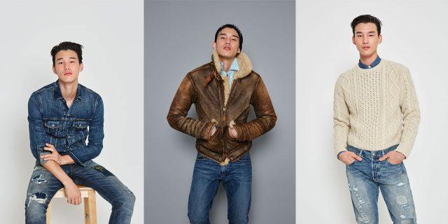 무통 재킷 230만원대, 셔츠 15만원대, 설리반 슬림 워싱 데님 진 19만원대, 비니 7만원대 모두 폴로 랄프 로렌.