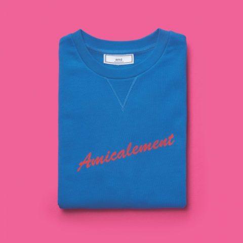 레터링 장식의 파란색 스웨트셔츠가격 미정 아미.