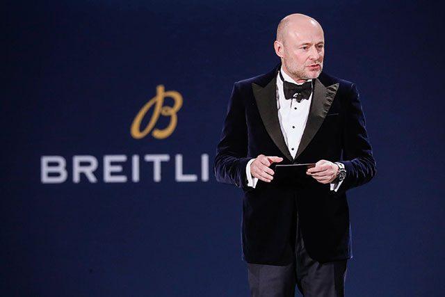 상하이에서 열린 브라이틀링 로드쇼에서 CEO 조지 컨이 브랜드의 미래를 설명하고 있다.