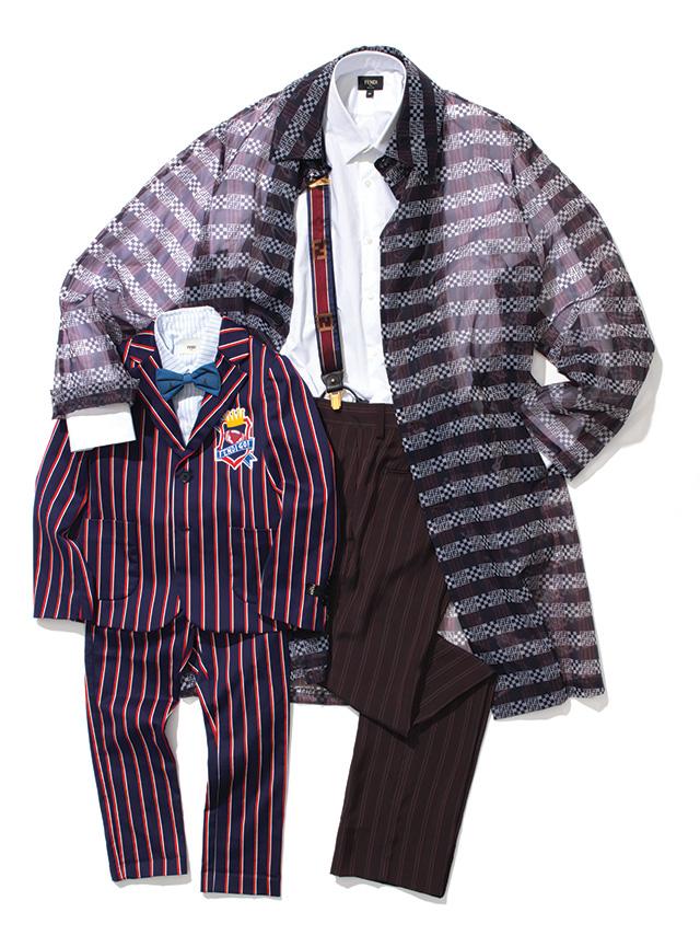 스트라이프 재킷 85만원, 하늘색 스트라이프 셔츠 39만원, 바지 41만원, 보타이 13만원 모두 펜디 키즈. 코트 207만원, 흰 셔츠 가격 미정, 바지 78만원, 서스펜더 가격 미정 모두 펜디.