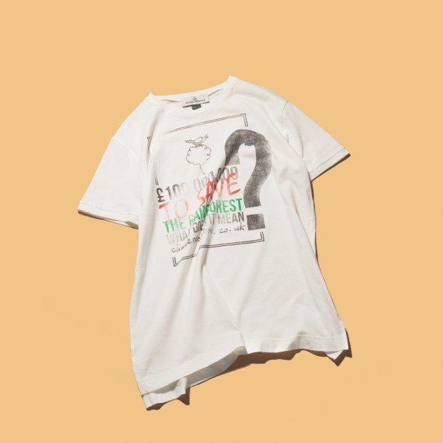 프린트가 벗겨진 듯한 티셔츠 33만원 비비안 웨스트우드.