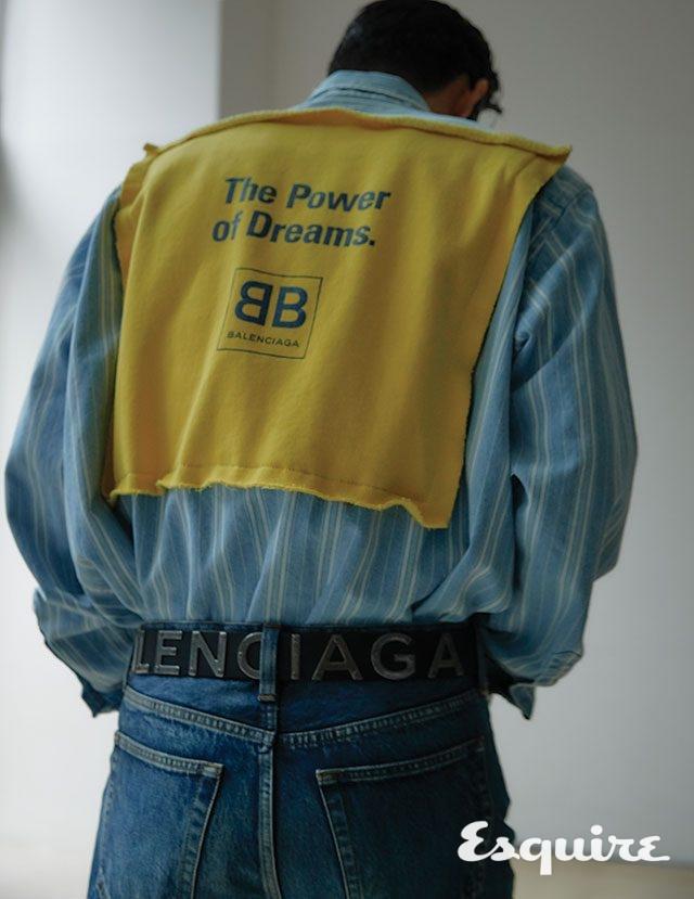 데님 셔츠 가격 미정, 데님 바지 80만원대, 벨트 가격 미정 모두 발렌시아가.