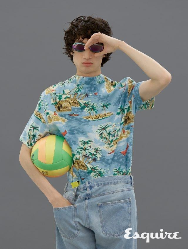 트로피컬 선글라스 가격 미정 루이비통. 야자수 문양의 하와이안 셔츠 6만9000원 리바이스. 데님 바지 45만8000원 이자벨 마랑 옴므.