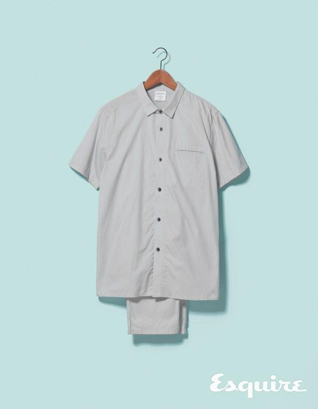 회색 파자마 셔츠 9만9000원,파자마 바지 11만9000원 모두 캘빈클라인 언더웨어.
