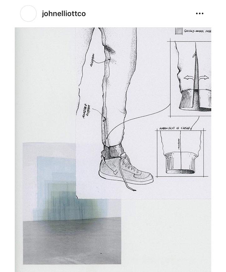 """존 엘리엇은 디자인을 두고 """"혁신적인"""" 신발이라 표현하며 이번 협업은 """"오직 나이키의 렌즈를 통해서만 창조될 수 있는 창의적인 선물""""이라 말했다."""