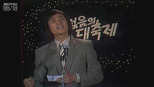 """송승환(1957~) 청춘 스타. 이 다큐멘터리에서는 여기서(올림픽 개최지 발표지) """"바덴바덴!""""을 외칠 때 한 번,  좌경 학생을 연기하는 드라마에서 한 번 나온다."""
