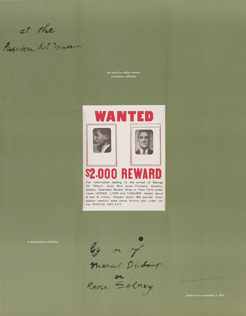전시를 위한 , 1963, 오프셋 석판인쇄 포스터, 87.5×69.1cm, Philadelphia Museum of Art: Gift of Jacqueline, Paul, and Peter Matisse in memory of their mother, Alexina Duchamp, 1998 © Association Marcel Duchamp / ADAGP, Paris – SACK, Seoul, 2018