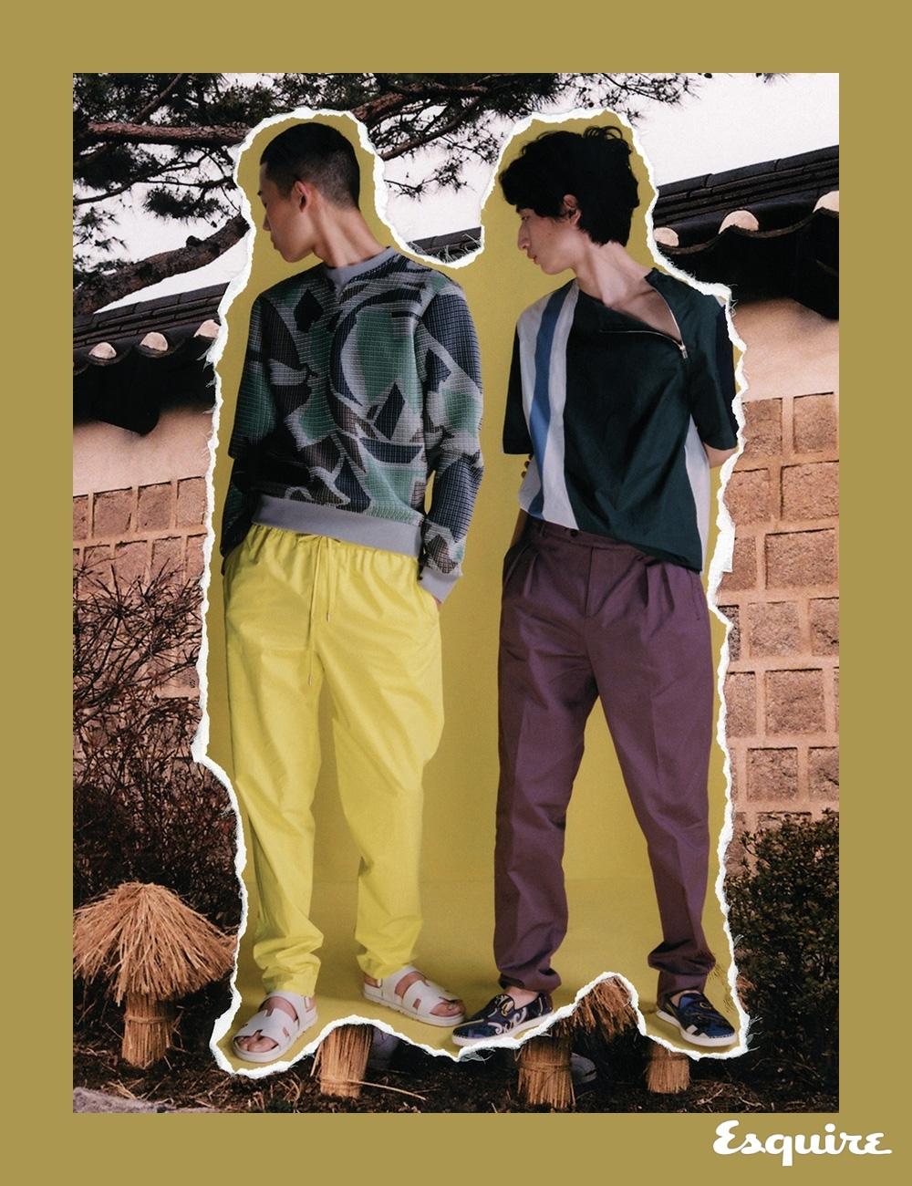 민석이 입은 니트, 바지, 샌들 모두 가격 미정 에르메스. 봉우가 입은 풀오버 셔츠, 바지, 에스파드리유 모두 가격 미정 에르메스.
