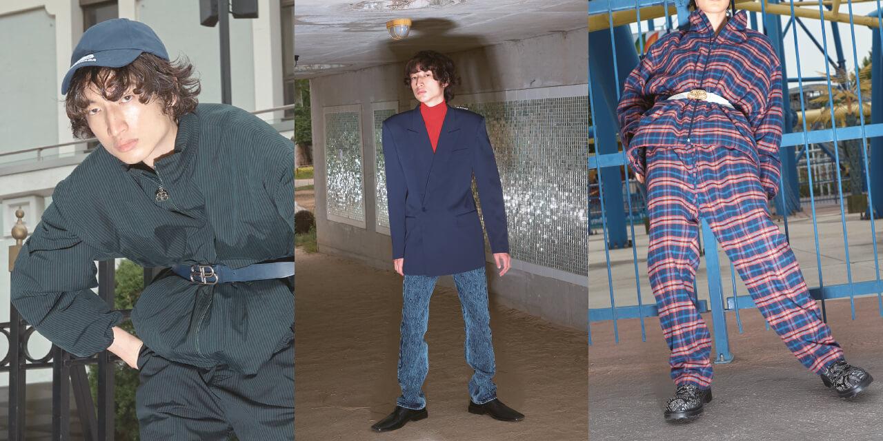 발렌시아가의 가을 옷으로 차려입은 수상쩍은 남자들.