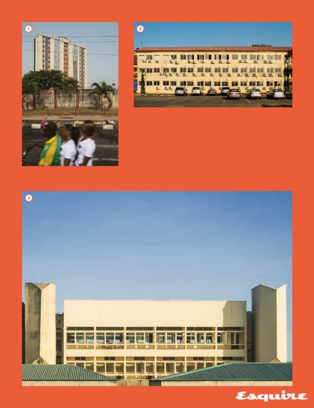 ❶ 수룰리어 동네의 주택. ❷ 라고스 대학의 시스템 엔지니어링 부서 건물.❸ '에어컨 파사드'. 라고스 대학 건물.